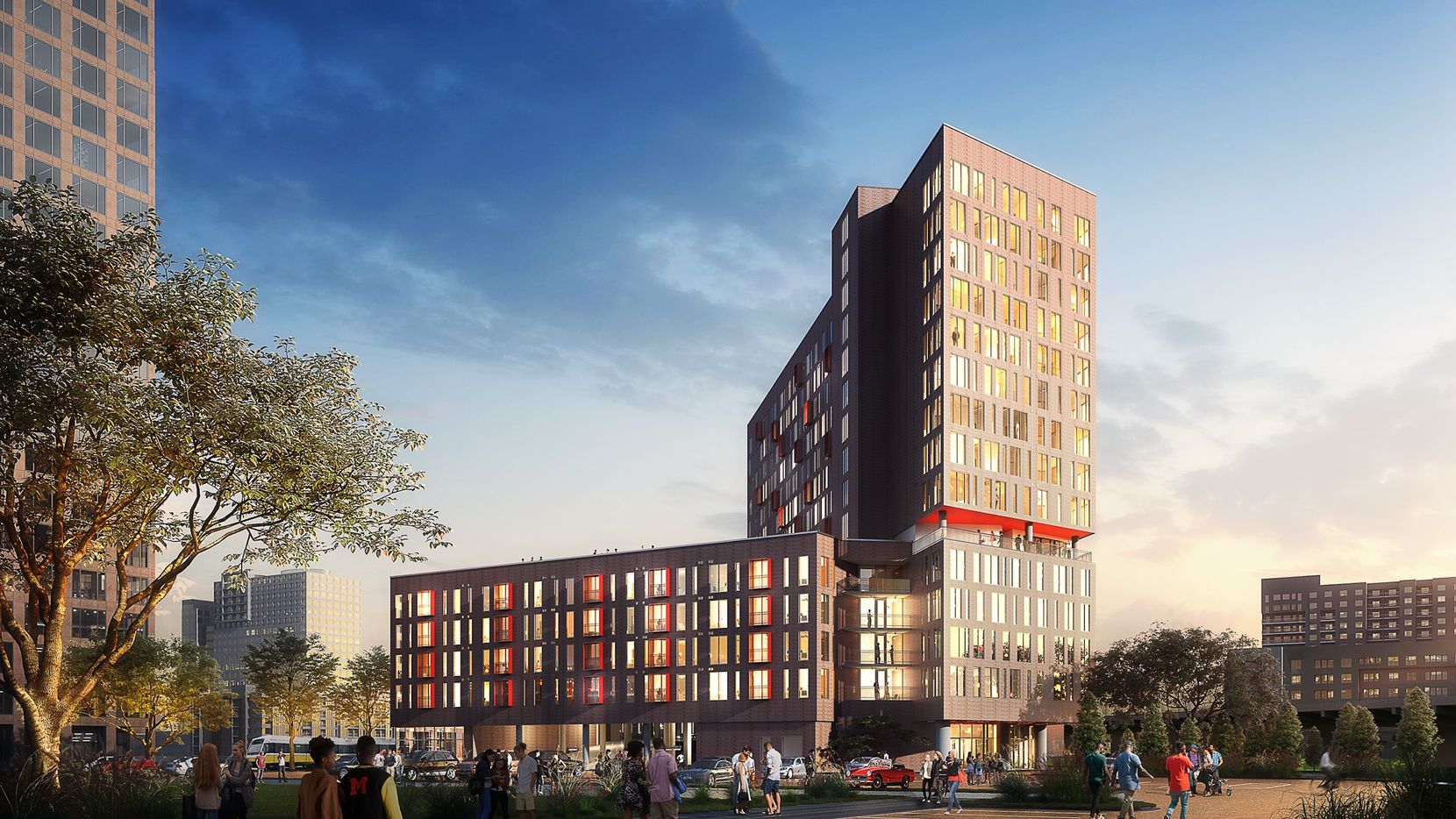 The Galbraith, a 15-story apartment high-rise, is being built on the eastern edge of downtown.