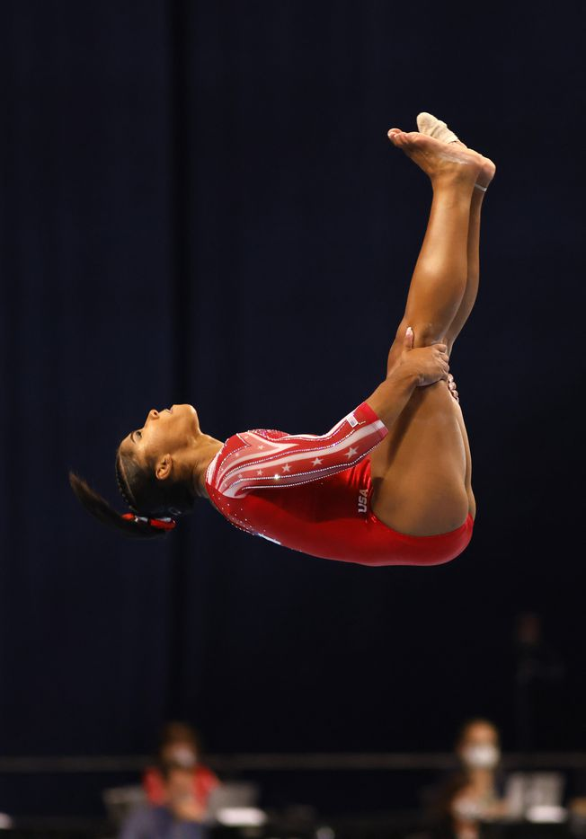 Jordan Chiles during her floor routine during day 2 of the women's 2021 U.S. Olympic Trials at The Dome at America's Center on Sunday, June 27, 2021 in St Louis, Missouri.(Vernon Bryant/The Dallas Morning News)