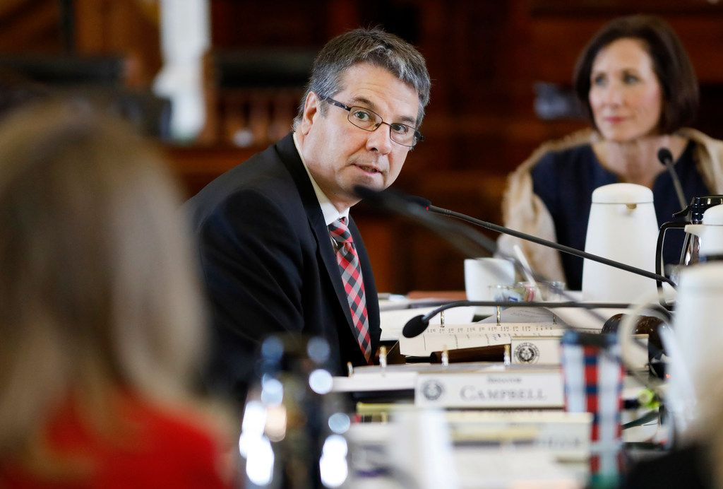 Texas Senator Charles Perry, District 28 (R-Lubbock) asks questions of Hannah Mehta of Protect Fragile TX Children during a Senate hearing on several related bills aimed to fix the state's broken Medicaid system. The hearing took place on the Texas State Capitol's Senate floor in Austin, Tuesday, April 2, 2019. (Tom Fox/The Dallas Morning News)