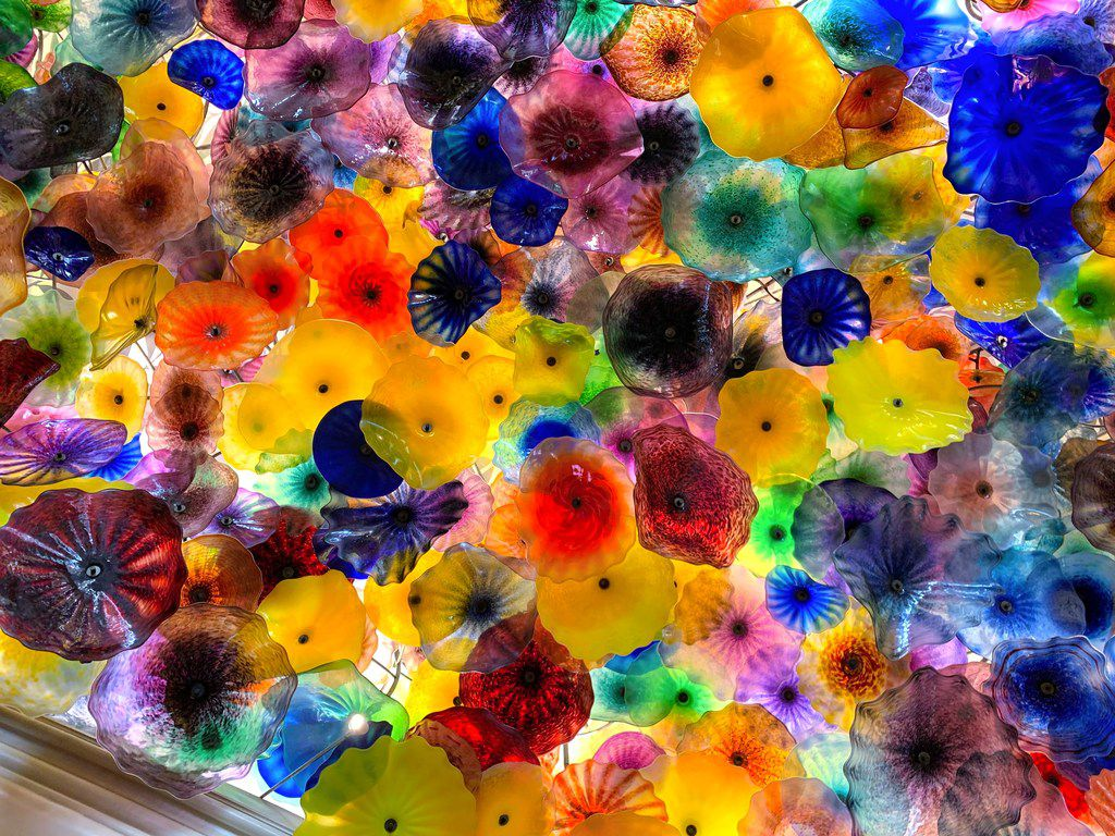 Artist Dale Chihuly created around 2,000 glass flowers for his ceiling installation inside the Bellagio Hotel and Casino.