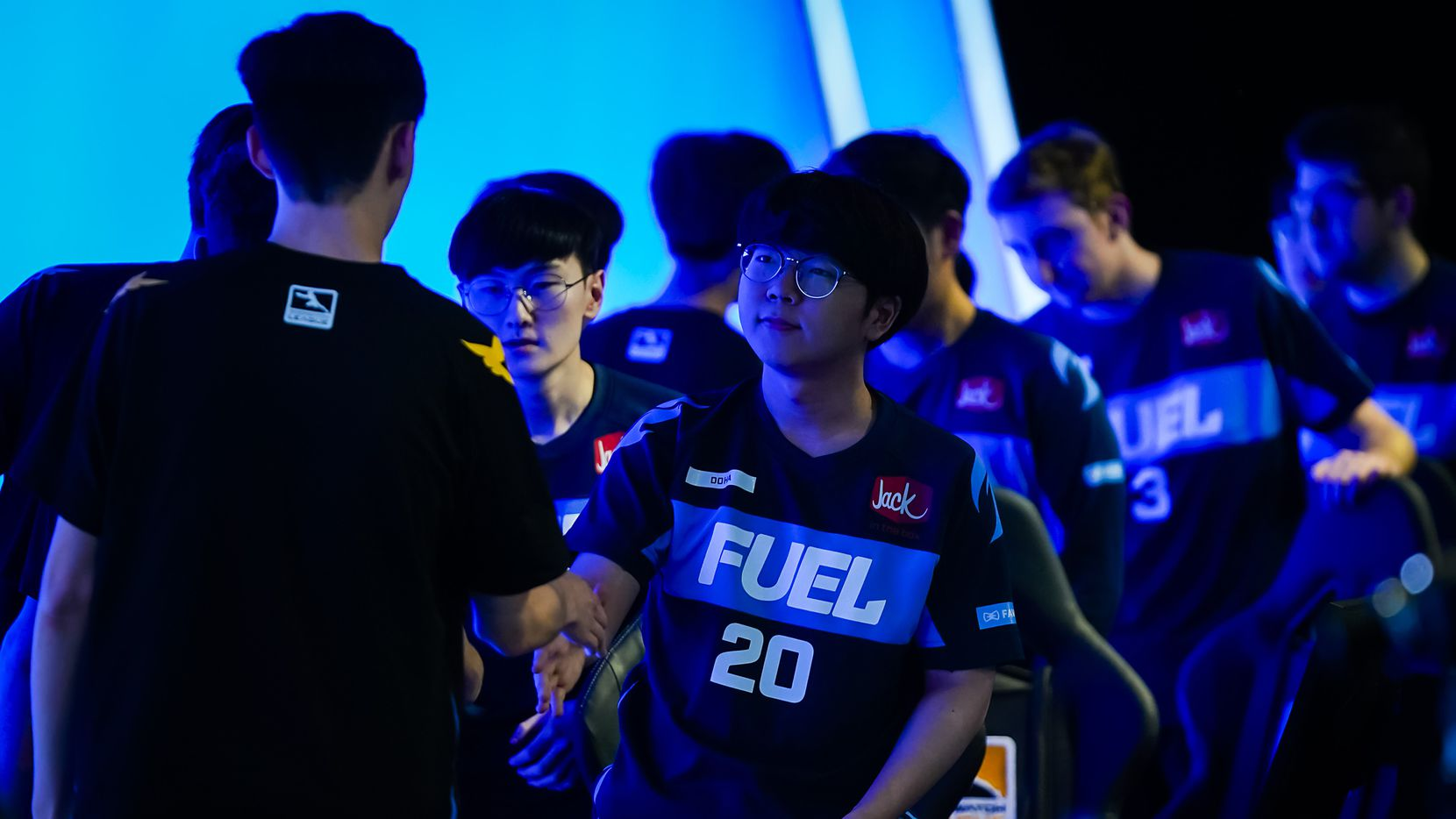 "Kim ""DoHa"" Dong-ha of the Dallas Fuel congratulates members of the victorious Los Angeles Valiant after a Overwatch League matcht at the Arlington Esports Stadium on Saturday, Feb. 8, 2020, in Arlington."