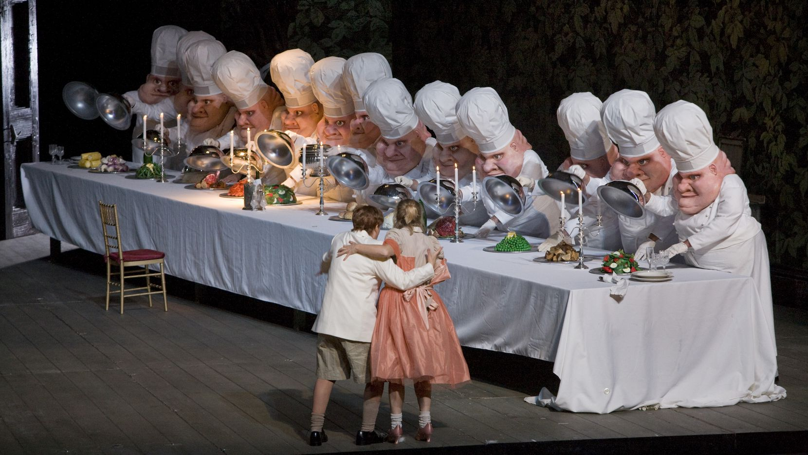 "A scene from Act II of Humperdinck's ""Hansel and Gretel"" with Alice Coote as Hansel and Christine Schäfer as Gretel in rehearsal in 2007 at the Metropolitan Opera in New York."