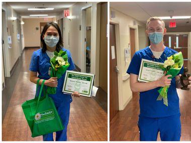 Rowena Morales and Jarrett Thrasher, Medical City McKinney nurses, show off their DAISY Awards.