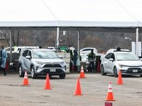 Dallas County staff with support from FEMA and Army medics, administer doses of Pfizer, Moderna and Johnson & Johnson COVID-19 vaccines to patients by appointment at Fair Park in Dallas on Friday, March 5, 2021.