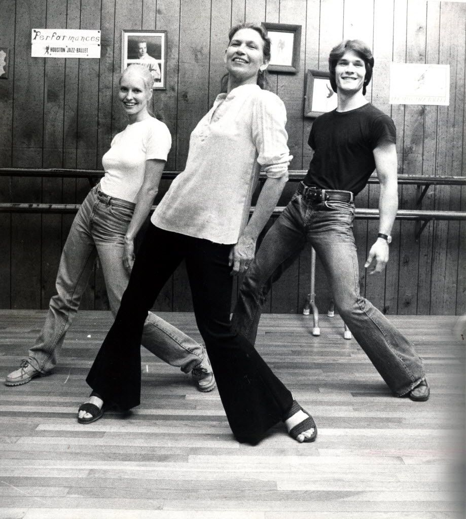 Patrick Swayze, right, dances with his mother Patsy Swayze, center, and his wife Lisa Niemi at Patsy Swayze's dance studio in Houston in June 1978.