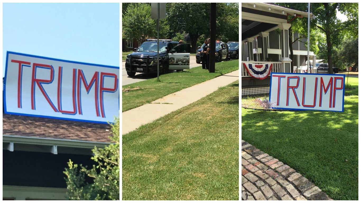 This photo collage shows images from Kimberly Loyd's Facebook page of her house decorated with Trump signs.