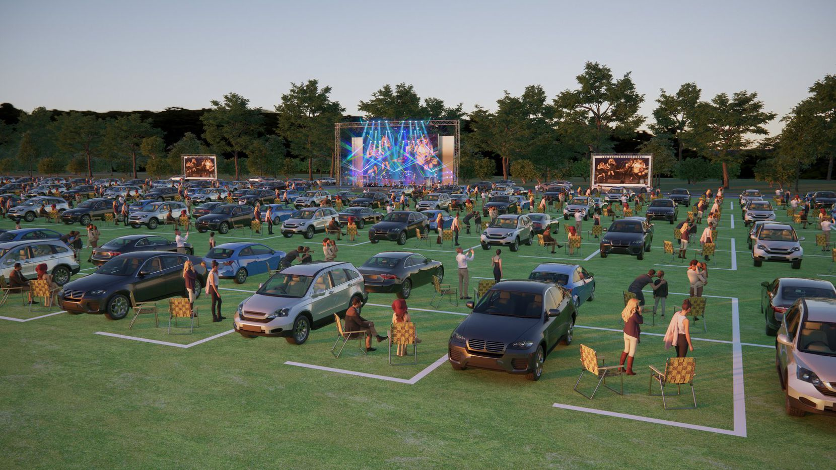Renderings show what the social distancing-friendly set-up will look like at the McKinney Performing Arts Center's summer concert series. The series, taking place at TUPPS Brewery, begins Saturday with a concert from Farewell Angelina.