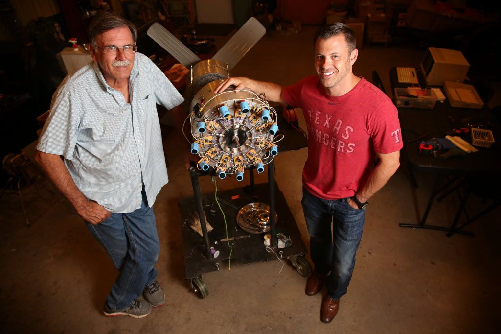 Fred Hunstable (left) sparked his son's early interest in computers by bringing a VIC-20 and TRS-80 home from RadioShack. Now, he and Brad have a company together. Linear Labs is focused on creating a next generation electric motor. They work in a shop in Fred's backyard, just a short walk from a creek where Brad played as a kid.
