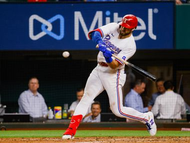 Texas Rangers center fielder Joey Gallo (13)is up to bat in the seventh inning against the Los Angeles Angels at Globe Life Field on Tuesday, April 27, 2021, in Arlington.