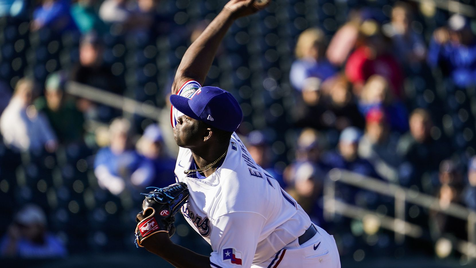 Rangers pitcher Demarcus Evans is pictured during the ninth inning of a spring training game against the Kansas City Royals at Surprise Stadium on Tuesday, Feb. 25, 2020, in Surprise, Ariz.
