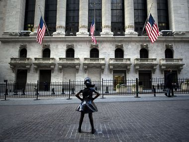 "The ""Fearless Girl"" statue stands facing the New York Stock Exchange in this January file photo. (JOHANNES EISELE/AFP via Getty Images)"