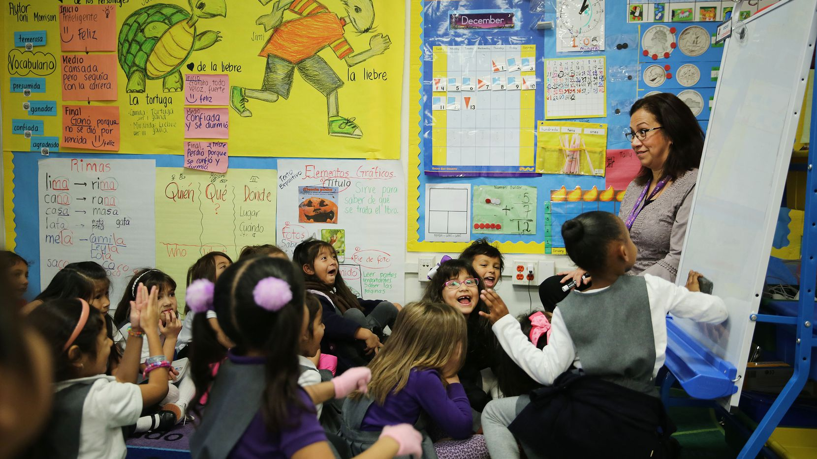 Sandra Urton teaches her kindergarten class at Solar Preparatory School for Girls in Dallas Tuesday December 13, 2016. Urton was named one of Dallas ISD's Teachers of the Year. She has been teaching for eight years, following a career as an attorney. (Andy Jacobsohn/The Dallas Morning News)