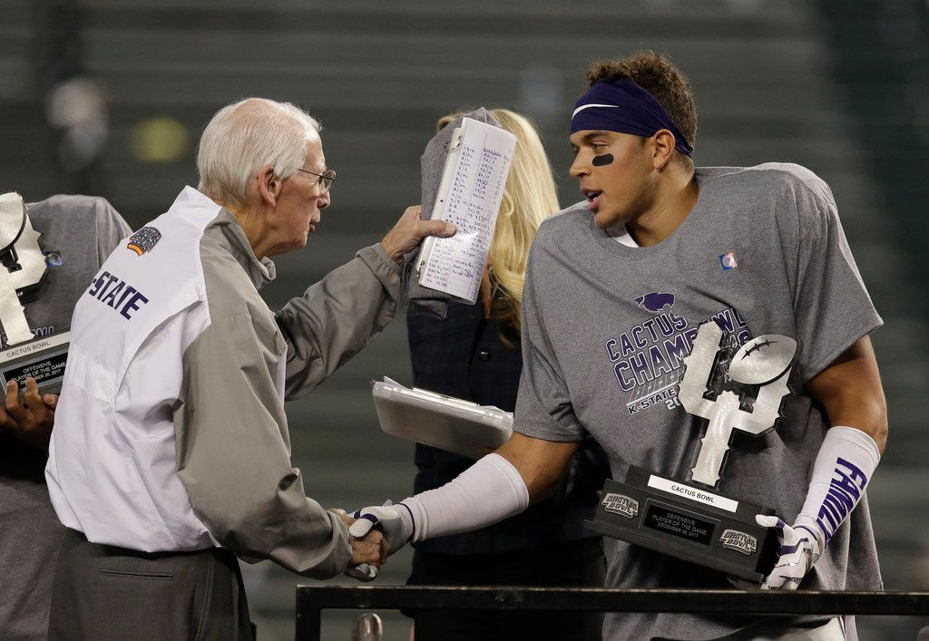 Kansas State head coach Bill Snyder and defensive back Denzel Goolsby are pictured after the Wildcats' Cactus Bowl win over UCLA on Tuesday, Dec. 26, 2017, in Phoenix. (AP Photo/Rick Scuteri)
