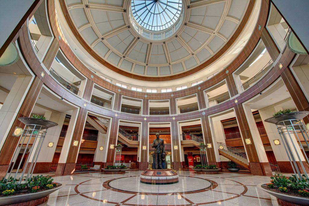 Penney founder James Cash Penney's statue sits in the atrium in the retailer's Plano headquarters.