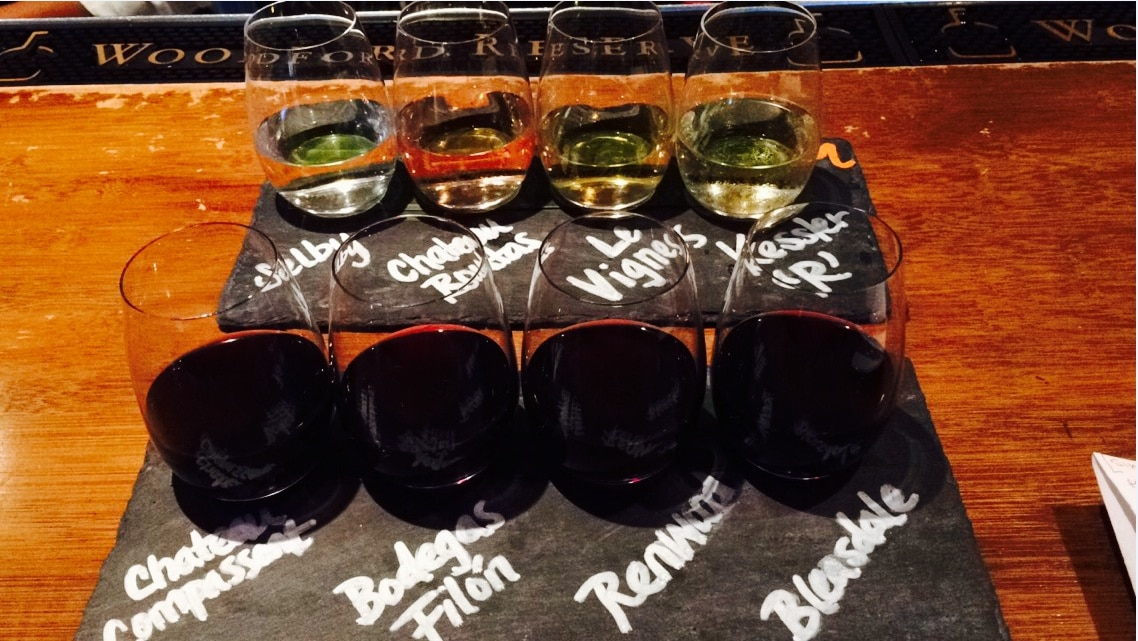 Red and white wine flights at Malai Kitchen