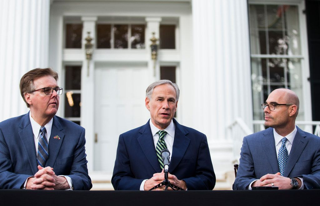 Lt. Gov. Dan Patrick, Gov. Greg Abbott and Speaker of the House Dennis Bonnen speak at a news conference at the governor's mansion on the second day of the 86th Texas legislature on Wednesday, January 9, 2019 in Austin, Texas.