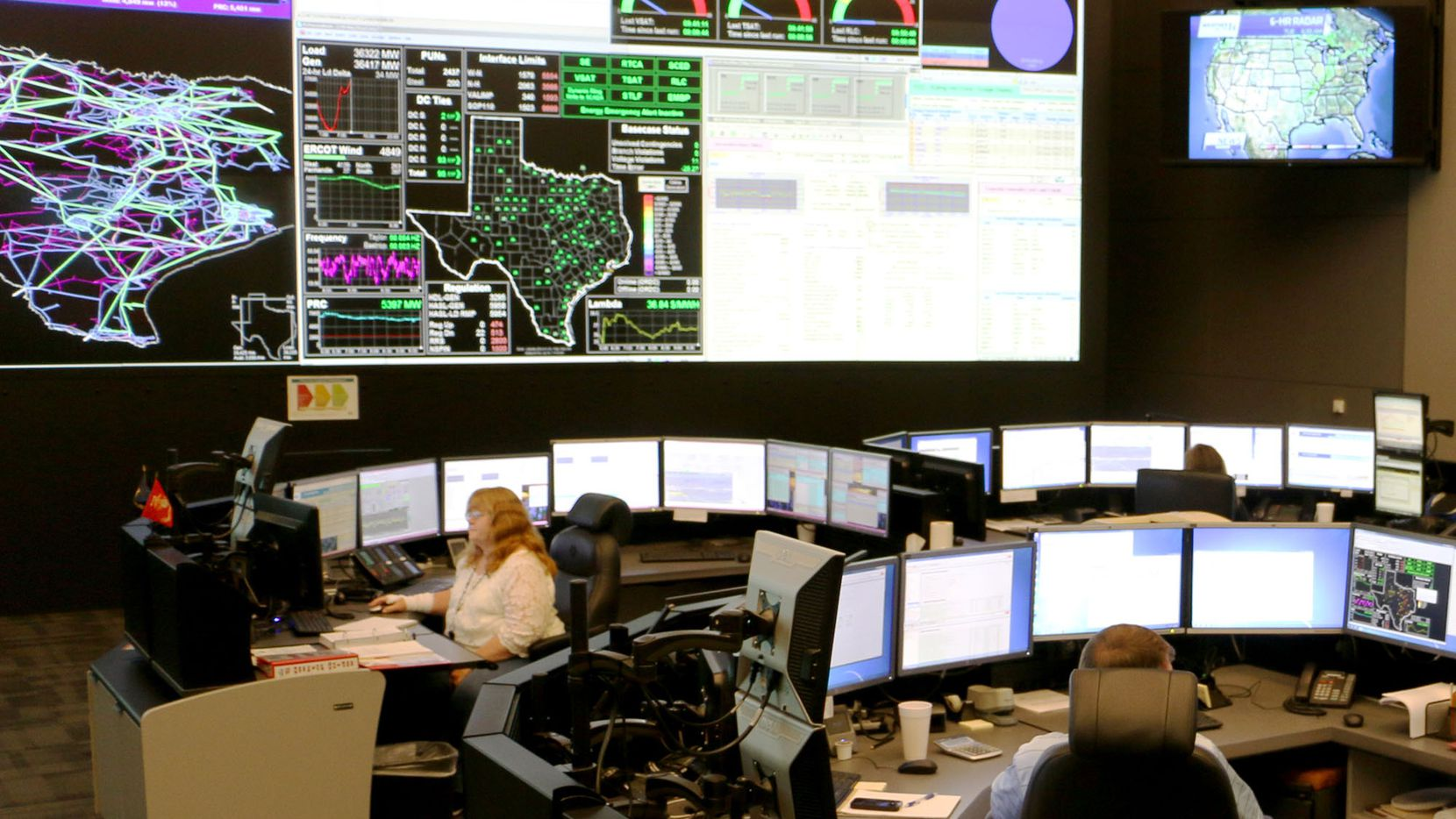 An ERCOT control room. The Electric Reliability Council of Texas (ERCOT) manages the flow of electric power to more than 26 million Texas customers -- representing about 90 percent of the state's electric load.