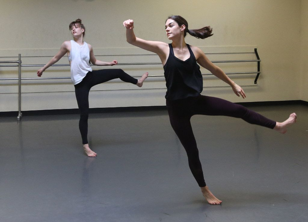 Taylor Rodman (left) and Emily Bernet of the Bombshell Dance Project at the Preston Dance Center on Friday, July 7, 2017.