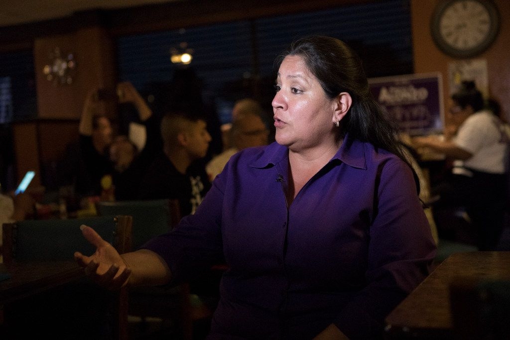 Monica Alonzo, Dallas City Councilwoman representing District 6, is interviewed during an election night party.