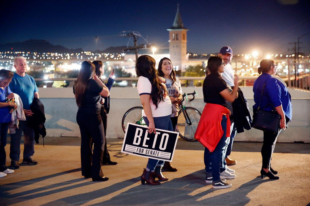 People line up outside Southwest University Park baseball stadium in El Paso, Texas to see U.S. Senate candidate Rep. Beto O'Rourke (D-TX) during his election party, Tuesday, November 6, 2018. O'Rourke is facing incumbent Sen. Ted Cruz (R-TX) in a close race for the U.S. Senate seat. (Tom Fox/The Dallas Morning News)
