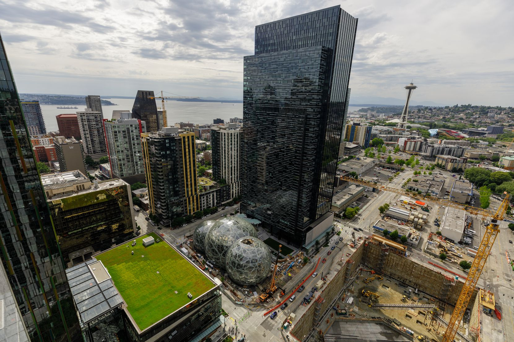 Amazon's campus in Seattle, Wash., is in both the downtown and South Lake Union neighborhoods. This photo was shot from the roof of Amazon's Port 99 building.