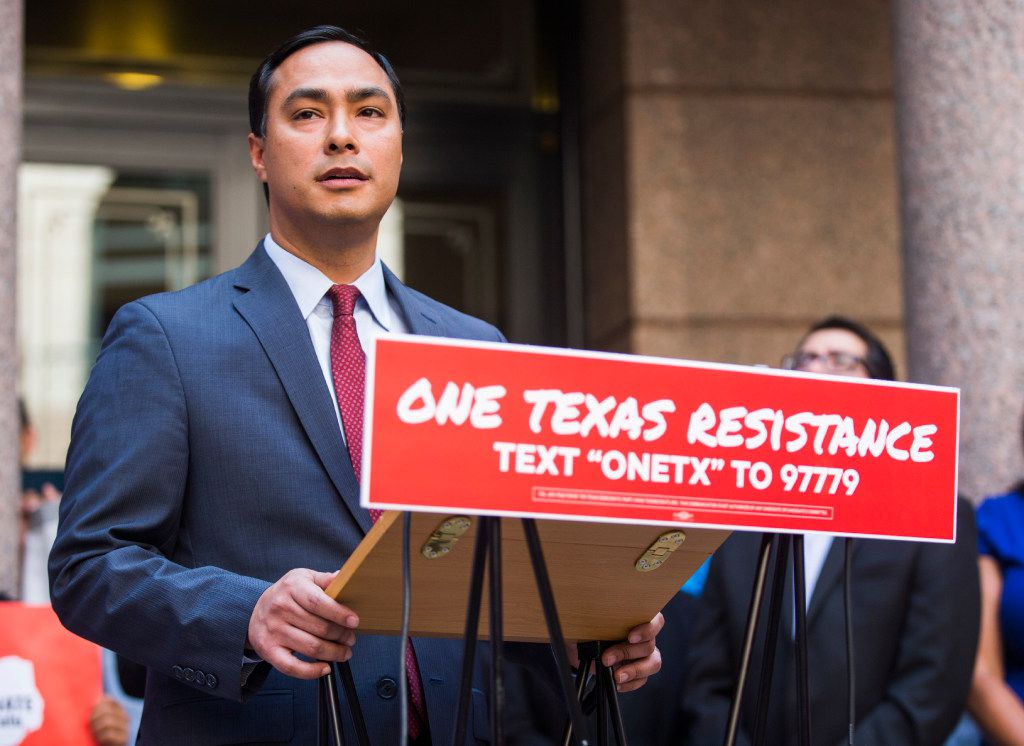 U.S. Rep. Joaquin Castro speaks during a One Texas Resistance news conference in the Capitol extension rotunda the day after Texas legislators adjourned from a special session in August at the Texas State Capitol in Austin.