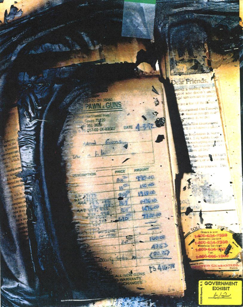 A government evidence photo of a charred receipt for over $13,000 in goods purchased from a gun shop on Northwest Highway in Dallas was found at the compound after the standoff ended with fire.