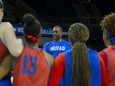 FILE - SMU women's basketball coach Travis Mays closes out a team practice with his players at Moody Coliseum on Friday, Jan. 3, 2020.