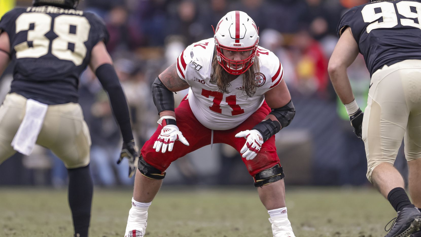 Matt Farniok #71 of the Nebraska Cornhuskers is seen during the game against the Purdue Boilermakers at Ross-Ade Stadium on November 2, 2019 in West Lafayette, Indiana.