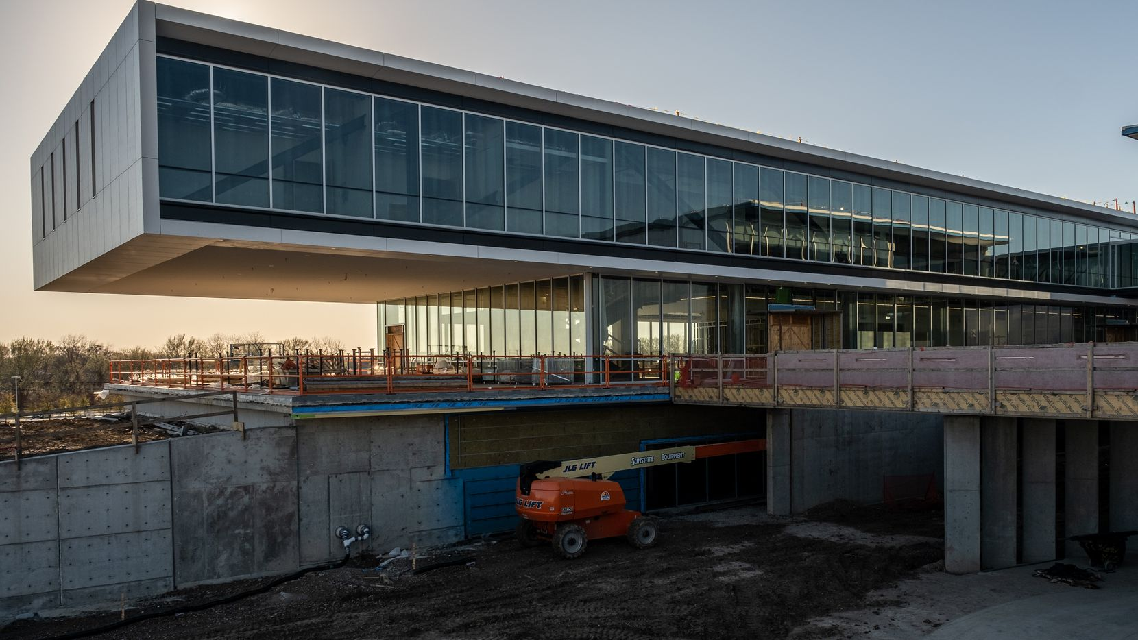 Here's a view of the academic building anchoring one end of the Collin College Technical Campus, scheduled to open for classes this fall. The cantilever provides shade for a future outdoor patio that will serve as a study and recreation area for students.