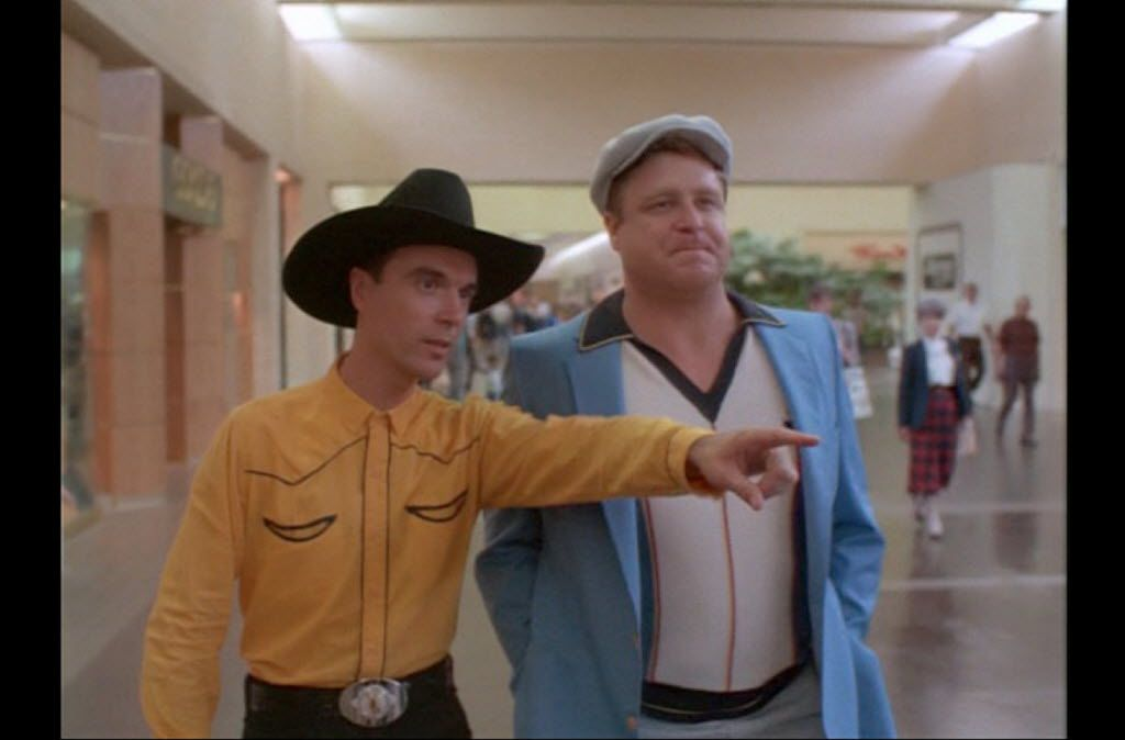 David Byrne and John Goodman in True Stories, which was partially shot at NorthPark Center in 1985.