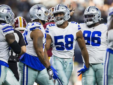 Dallas Cowboys defensive end Robert Quinn (58) celebrates after sacking Washington Redskins quarterback Case Keenum (8) during the second quarter of an NFL game between the Dallas Cowboys and the Washington Redskins on Sunday, December 29, 2019 at AT&T Stadium in Arlington, Texas.