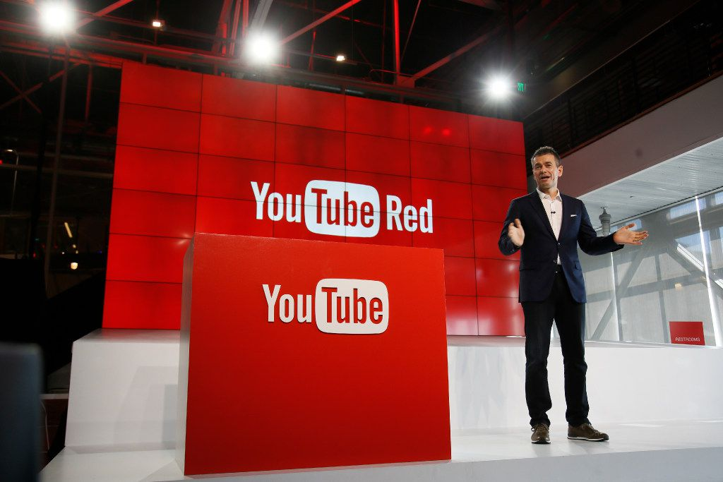 """In this Oct. 21, 2015, file photo, Robert Kyncl, YouTube Chief Business Officer, speaks as YouTube unveils """"YouTube Red,"""" a new subscription service, at YouTube Space LA offices in Los Angeles. YouTube explained why some gay-themed content was restricted for certain users in a tweet on March 19, 2017. (AP Photo/Danny Moloshok, File)"""