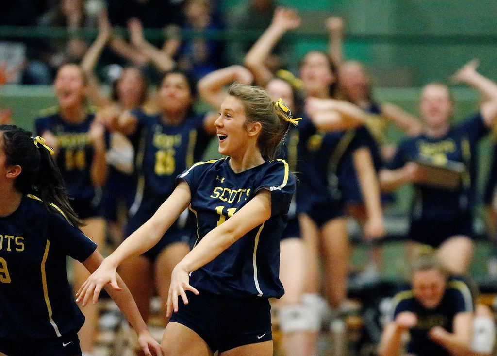 Highland Park High School Sydney Breon (11) celebrates a point in game one as Lovejoy High School hosted Highland Park High School in the Class 5A Region II championship match held at Berkner High School in Richardson on Saturday, November 16, 2019. (Stewart F. House/Special Contributor)
