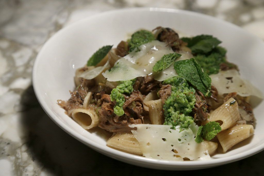 House-made rigatoni with raised lamb, green garlic, mint and English peas