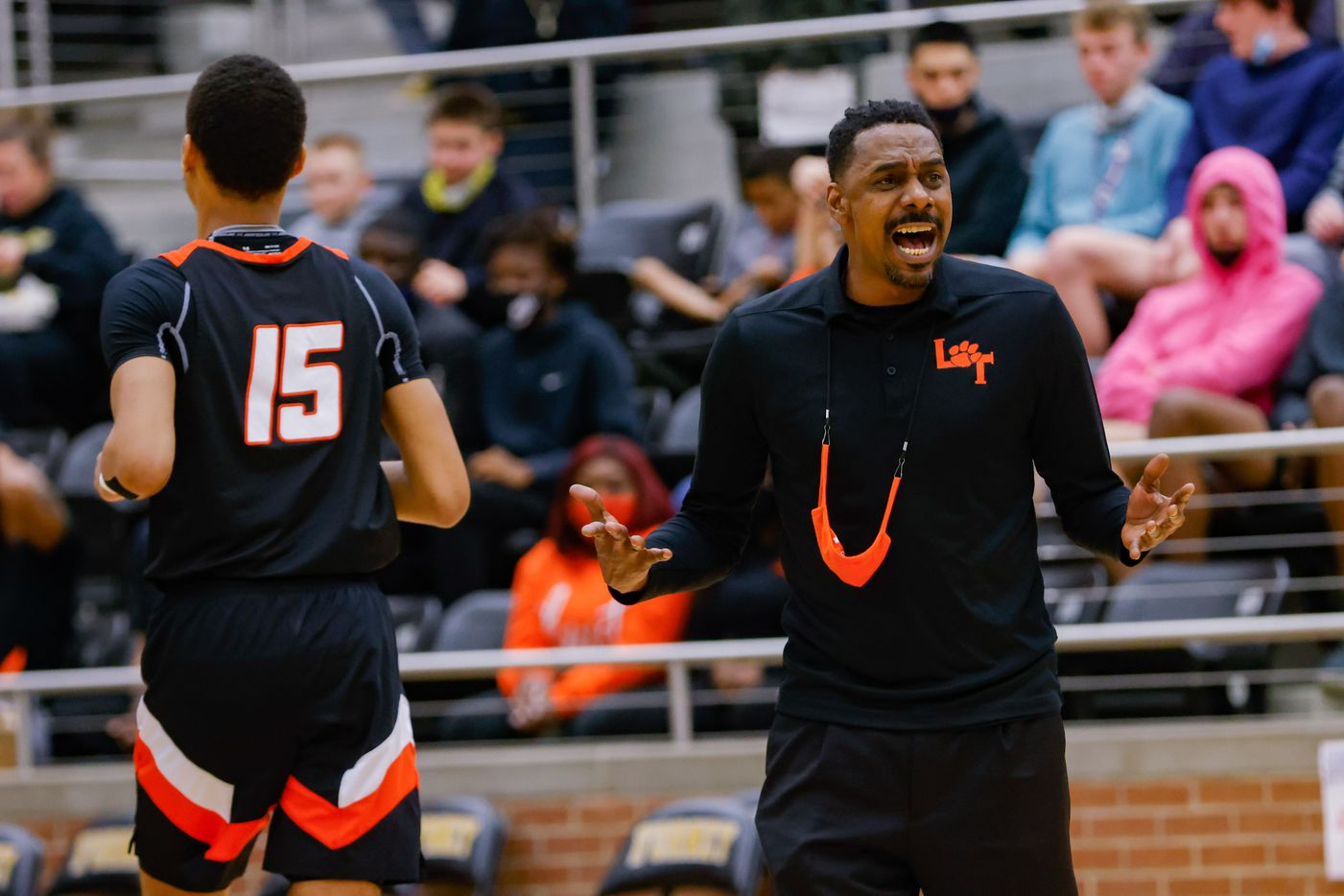 Lancaster's coach Ferrin Douglas during the first half of a boys basketball UIL Class 5A Region II playoff game against Kimball in Forney on Friday, March 5, 2021. (Juan Figueroa/ The Dallas Morning News)