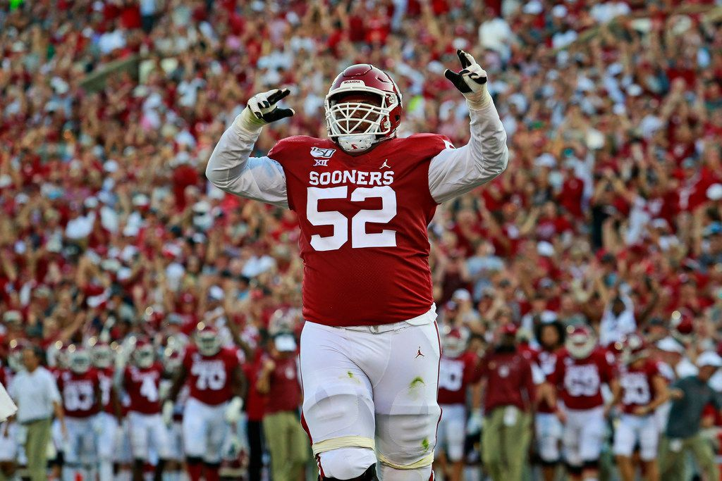 NORMAN, OK - SEPTEMBER 07: Offensive lineman Tyrese Robinson #52 of the Oklahoma Sooners celebrates a touchdown against the South Dakota Coyotes at Gaylord Family Oklahoma Memorial Stadium on September 7, 2019 in Norman, Oklahoma. The Sooners defeated the Coyotes 70-14. (Photo by Brett Deering/Getty Images)