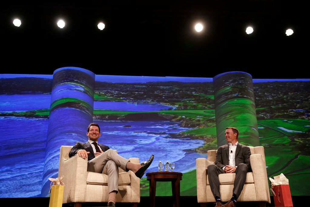 """Tony Romo and Jordan Spieth during """"A Conversation With a Living Legend"""" at the Hilton Anatole in Dallas on Monday, Nov. 5, 2018. The event benefits the University of Texas MD Anderson Cancer Center. (Rose Baca/The Dallas Morning News)"""