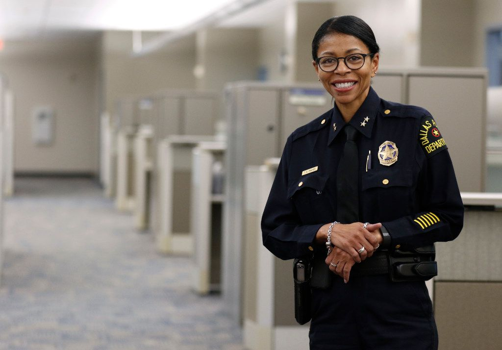 DPD Assistant Chief Tammie Hughes poses for a portrait at the Dallas Police Department headquarters in Dallas, Monday, July 31, 2017.  The Center for BrainHealth at the University of Texas at Dallas offering mindfulness and brain health training for Dallas police officers, to help the officers juggle their work and personal lives.  (David Woo/The Dallas Morning News)