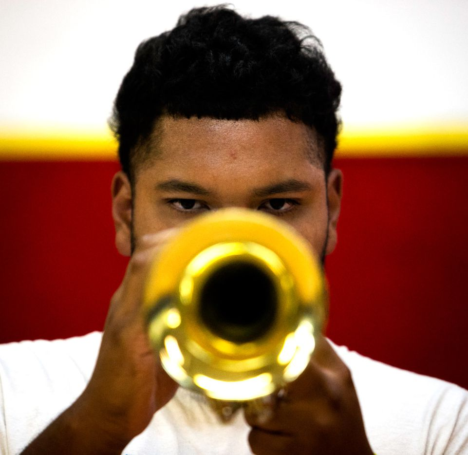 Franco Solorzano, 16, plays the trumpet.