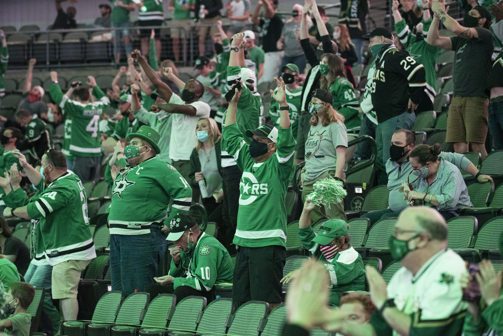 Stars fans react as the Dallas Stars scored a goal in the third period versus the Tampa Bay Lightning during a watch party at the American Airlines Center for game 1 of the Stanley Cup Final, Saturday, on Sept. 19, 2020. Ben Torres/Special Contributor