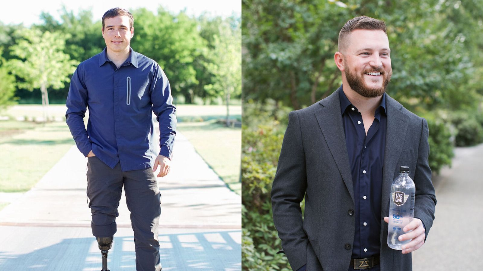 John Wayne Walding (left) and Zach Smith co-founded beverage company Live to Give in 2019 as an easy way for people to give to charity by purchasing something they'd buy anyway.