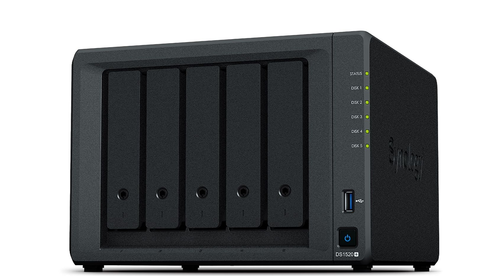 The Synology DS1520+ is a 5-bay network attached storage device.