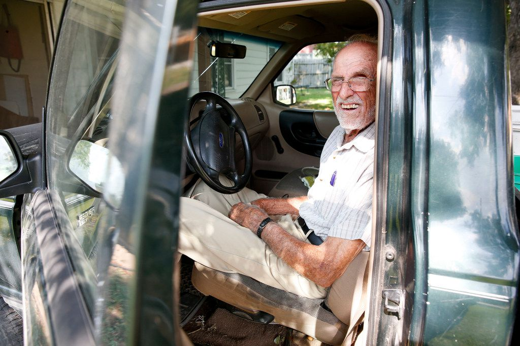 Albert Bigler, 95, of Ennis sits in his truck in his driveway in Ennis on Tuesday, Sept. 10, 2019. Bigler has tried in vain to find records of his birth so that he can renew his driver's license with the Texas Department of Public Safety.