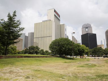 John W. Carpenter Park in downtown Dallas, on Thursday, July 2, 2020.  Development of Carpenter Park is expected to start in September. The patch of land at the eastern edge of downtown Dallas hasn't functioned as a park since 2011 due to numerous roadwork projects around it.