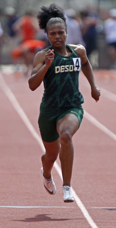 Jaera Griffin  18, of DeSotto High School, had the best time in the girls 100 meters during the Jesuit-Sheaner Relays held at Jesuit College Preparatory School in Dallas on Saturday, March 27, 2021.  (Stewart F. House/Special Contributor)