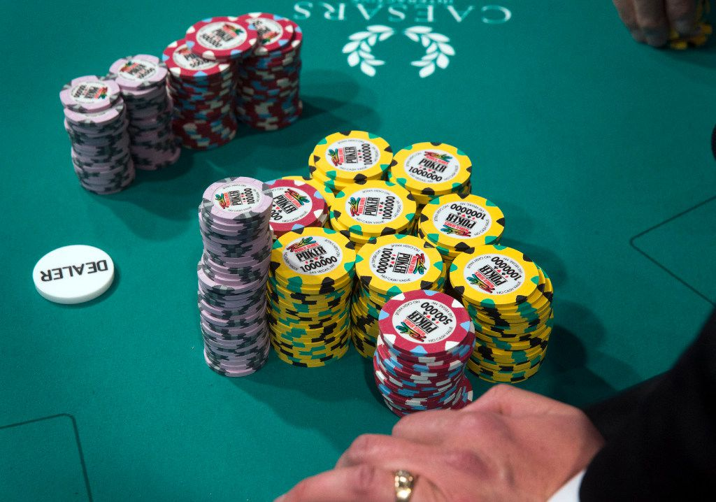 A stack of World Series of Poker Main Event chips at the Rio All Suite Hotel and Casino in Las Vegas on Monday, Oct. 31, 2016.