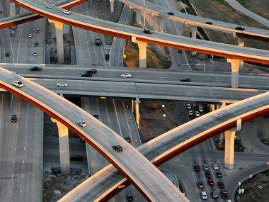 An aerial view of the Sam Rayburn Tollway as it crosses the Dallas North Tollway is captured in this file photo. The Future Mobility Study, led by Collin County engineers, is analyzing population projections and traffic routes in the area between Highway 121 near Desert and I-30 at the northern tip of Lake Ray Hubbard.