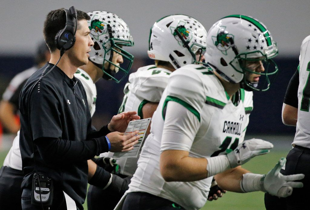 Southlake Carroll head coach Riley Dodge is pictured during the Southlake Carroll Dragons vs. the Duncanville Panthers Class 6A Division I Region I high school football playoff game at the Star in Frisco, Texas on Saturday, December 8, 2018. (Louis DeLuca/The Dallas Morning News)