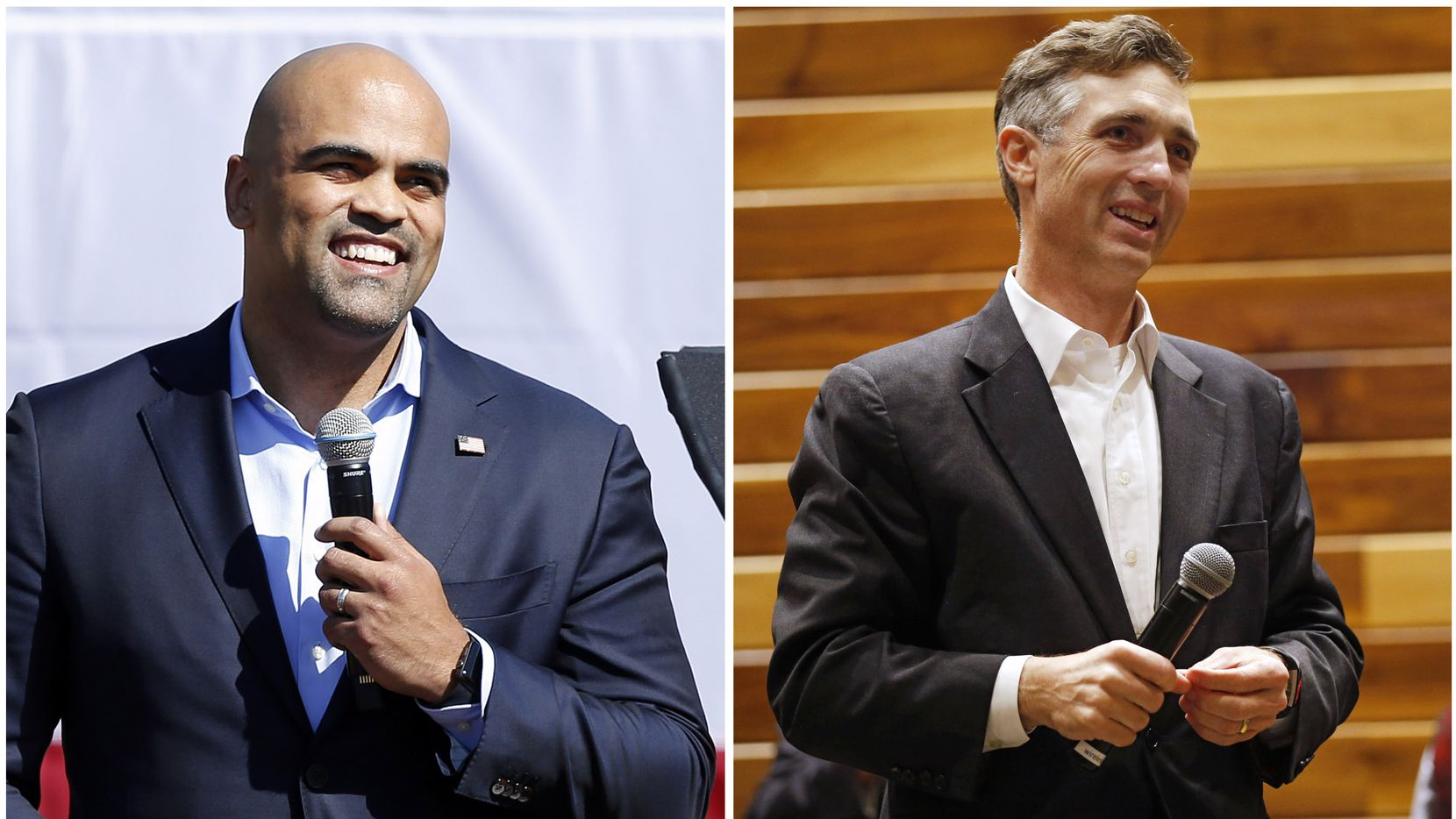 LEFT - Colin Allred, the U.S. Representative from Texas' 32nd District, speaks before former second lady Jill Biden made a drive-in campaign rally stop at Fair Park in Dallas, Tuesday, October 13, 2020. (Tom Fox/The Dallas Morning News)RIGHT - U.S. Rep Van Taylor during an election watch night party at Verona Villas on Tuesday, November 3, 2020 in Frisco, Texas. (Vernon Bryant/The Dallas Morning News)